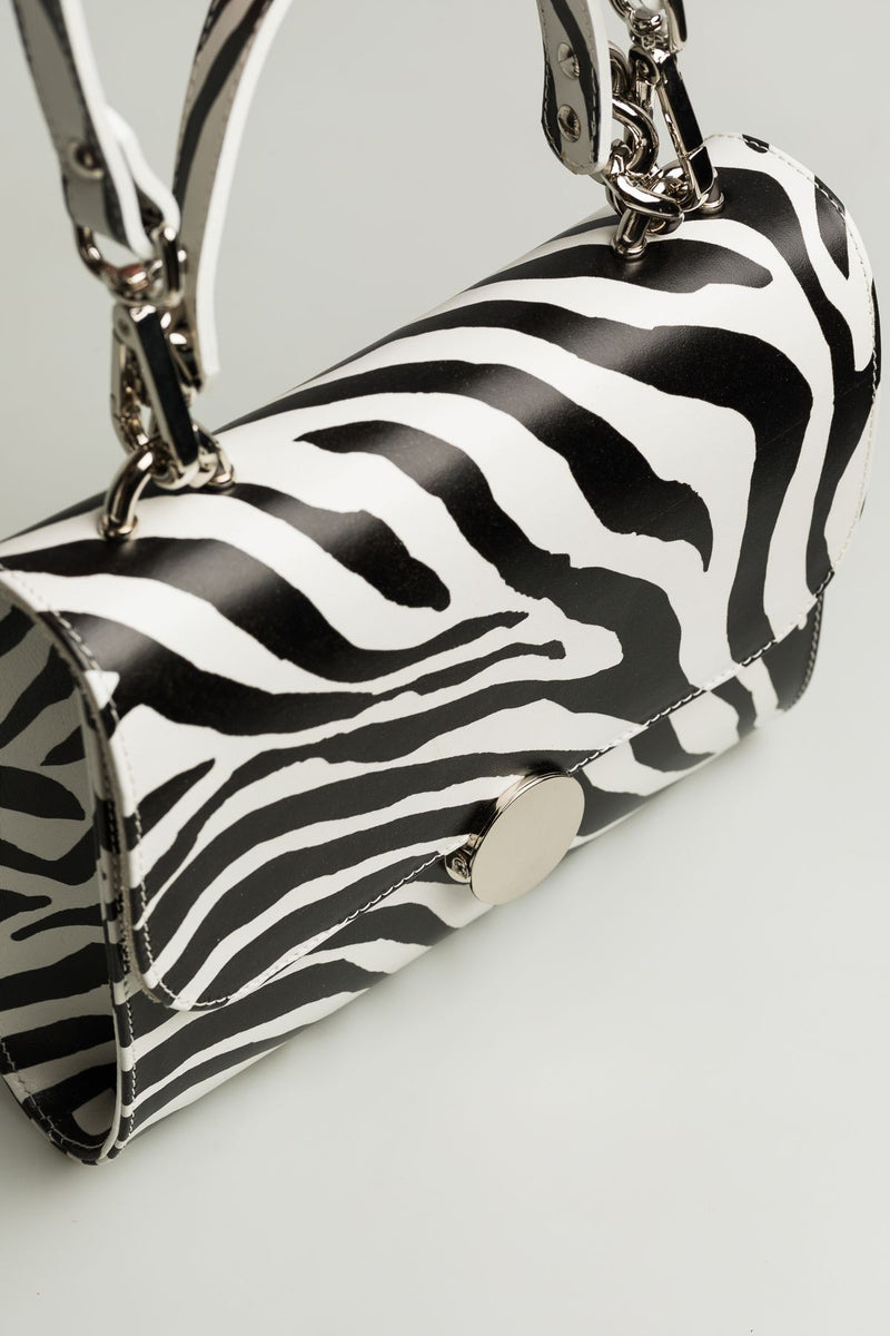 Small Bag with round lock in zebra print - Mona