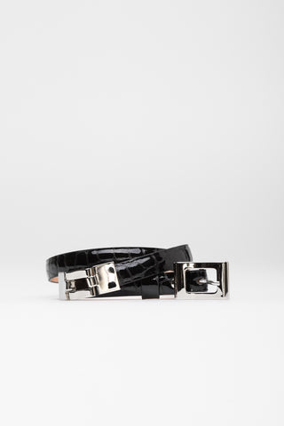 Black Patent Croc Belt