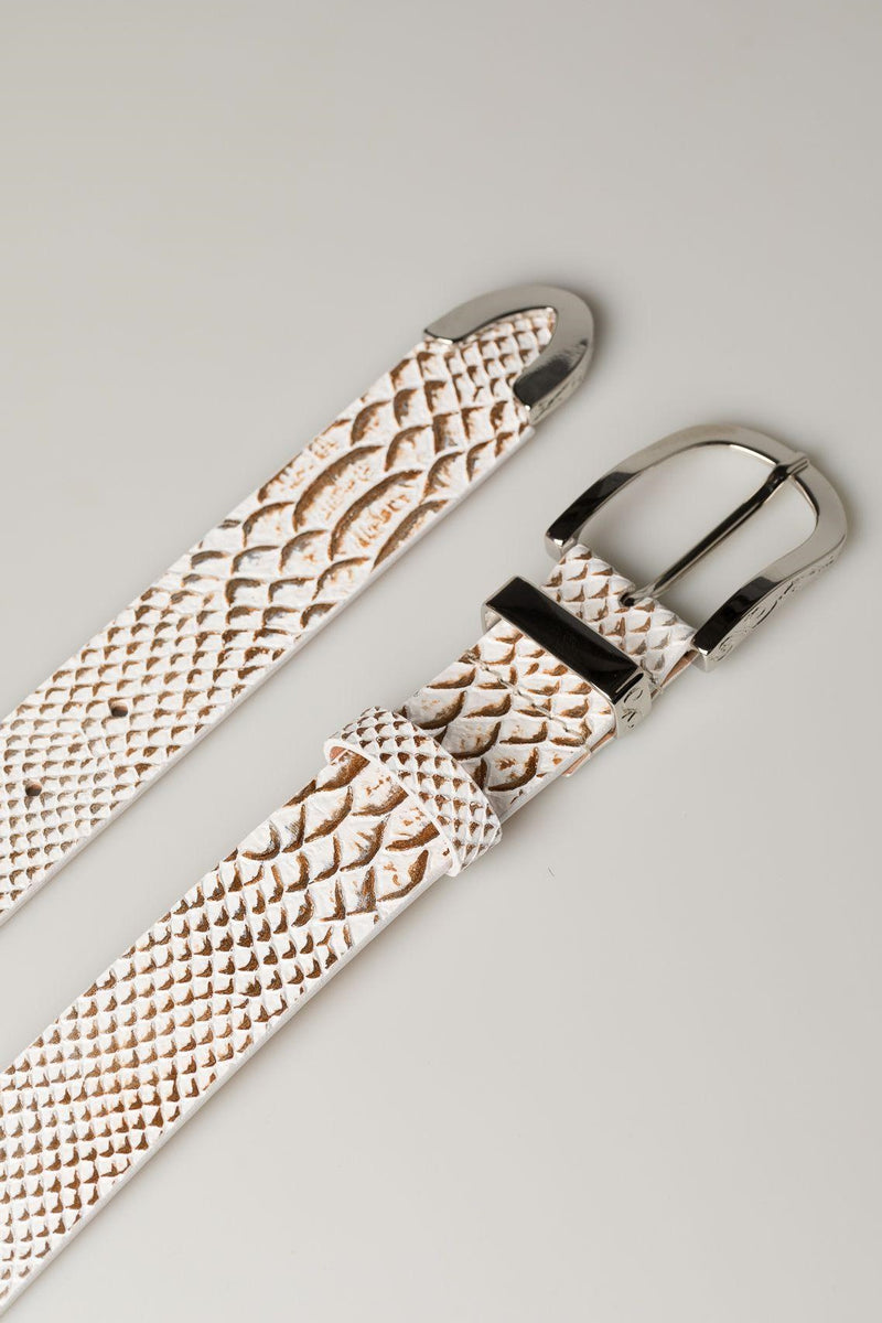 White Bronze Snakeskin Belt