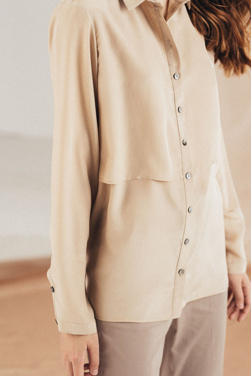 Silk Beige Shirt straight cut - Mona