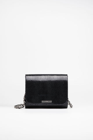 Clutch snake-effect leather