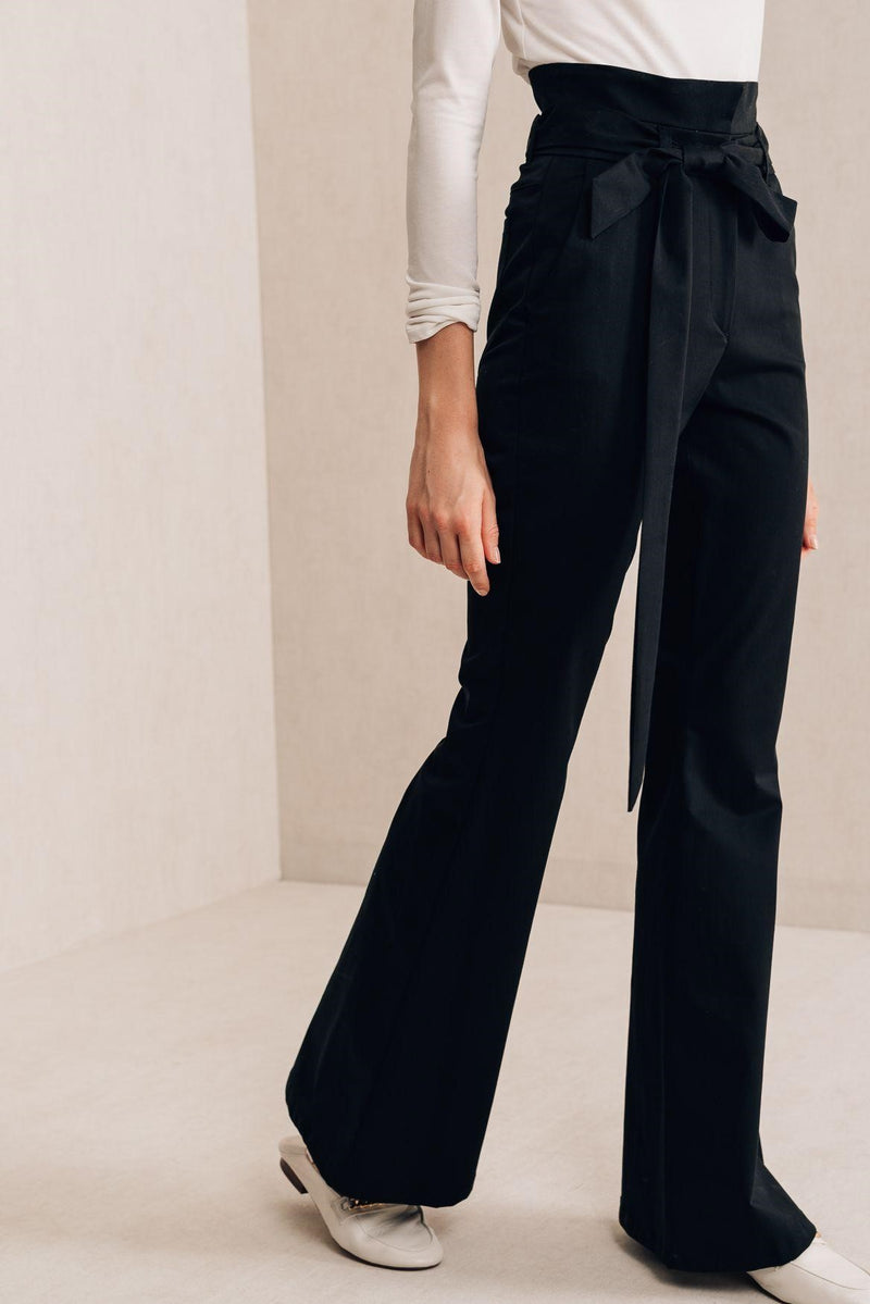 Wide Leg Twill  Pants - Mona Collection