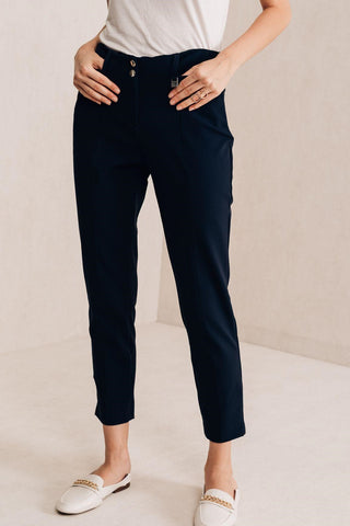 Fitted Navy Cigarette Trousers