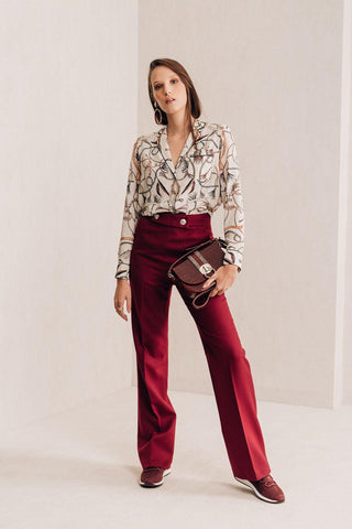 High Waisted Bordeaux Trousers - Mona Collection