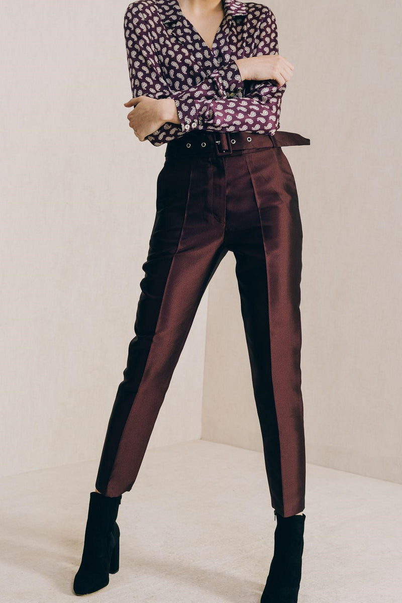 Burgundy Cigarette Trousers