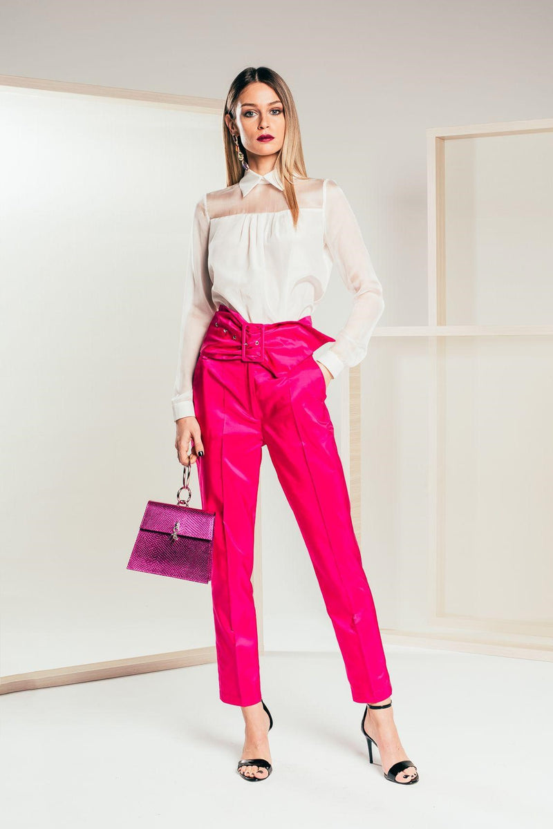 Magenta Cigarette Trousers