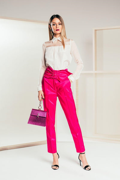 Magenta Cigarette Trousers - Mona Collection