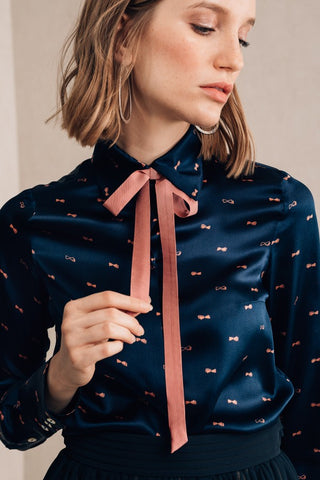 Pink Neck Tie Blouse - Mona Collection