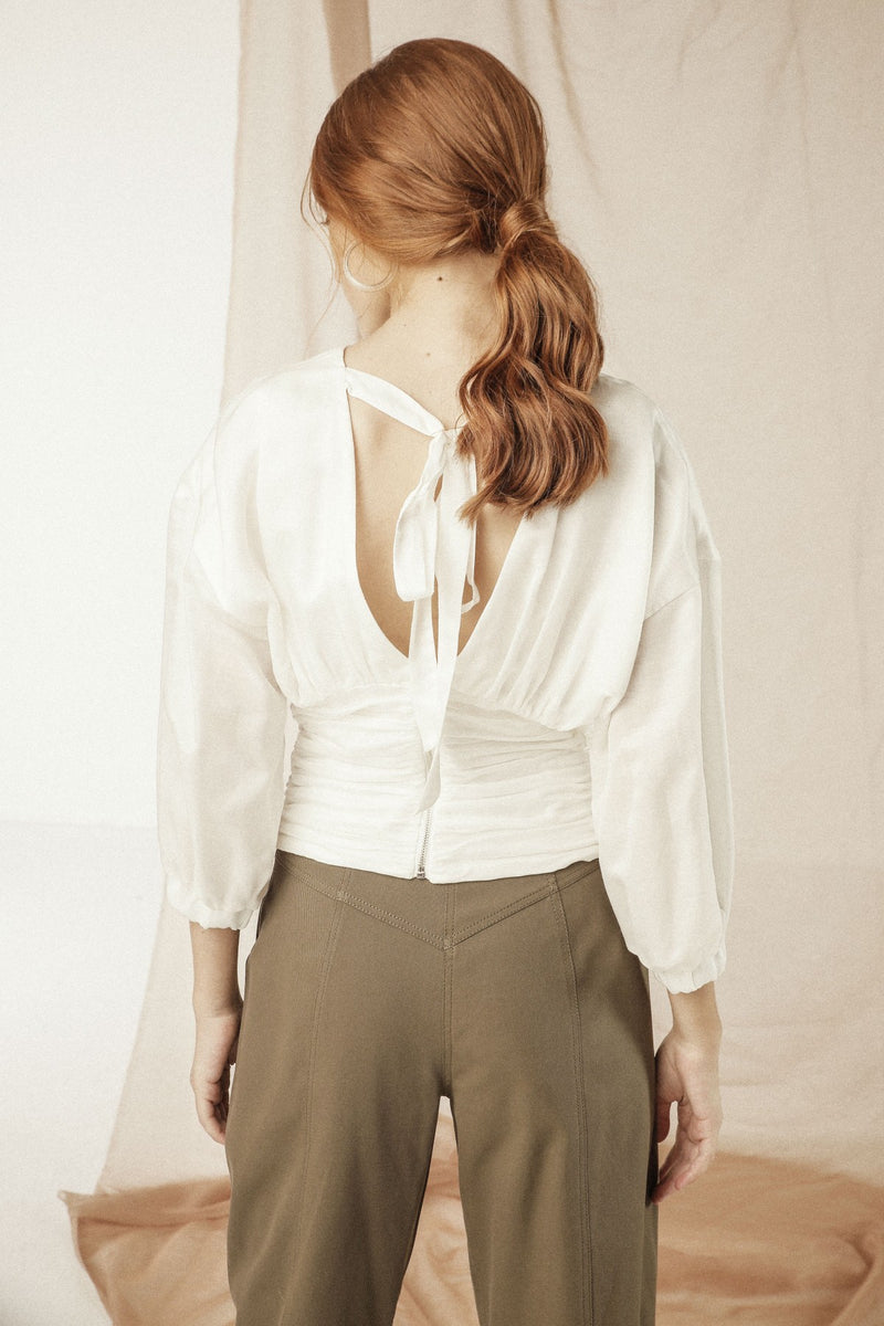 White Silk blouse with a deep V neckline at the back - Mona