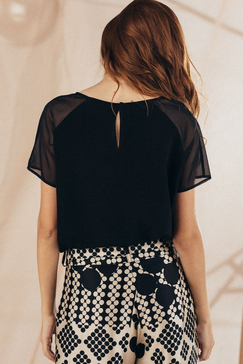 Black Silk Blouse - Mona
