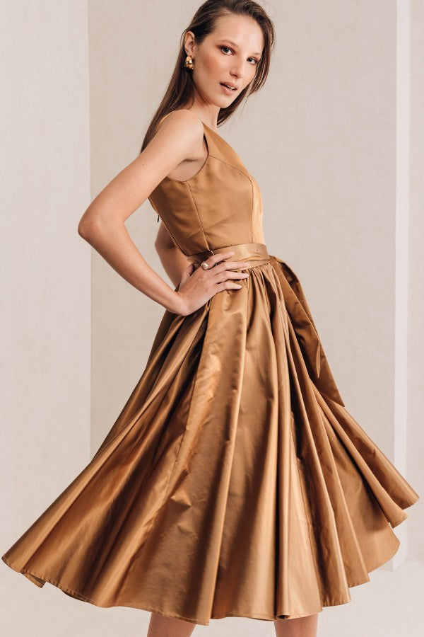 Golden Taffeta Dress - Mona Collection