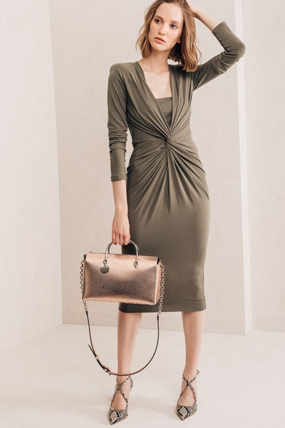 Khaki Knit Midi Dress