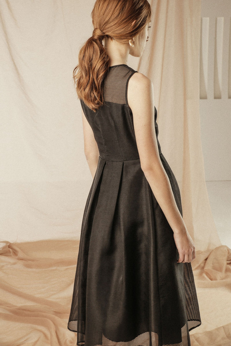 Princess Organdy Black Dress - Mona