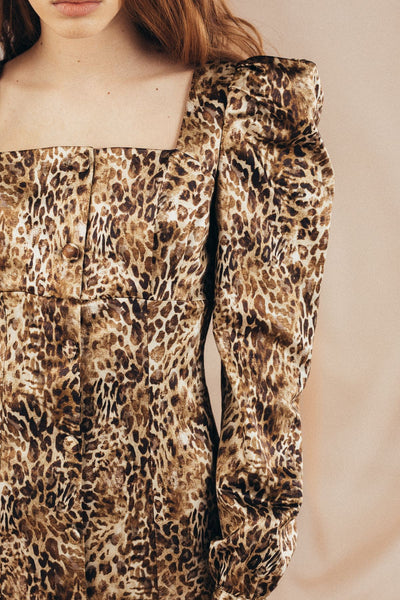 Leopard Silk  dress with buttons - Mona