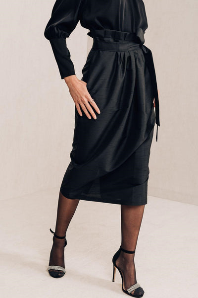 Black Midi Skirt - Mona