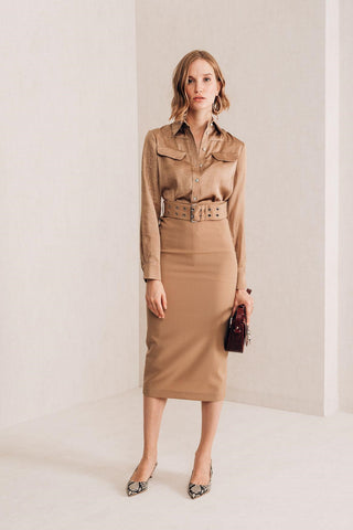High Waisted Camel Skirt - Mona