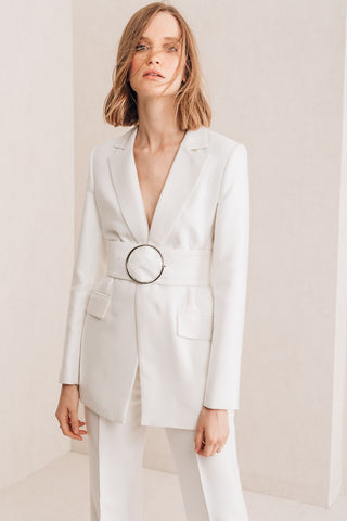 White Long Blazer - Mona Collection