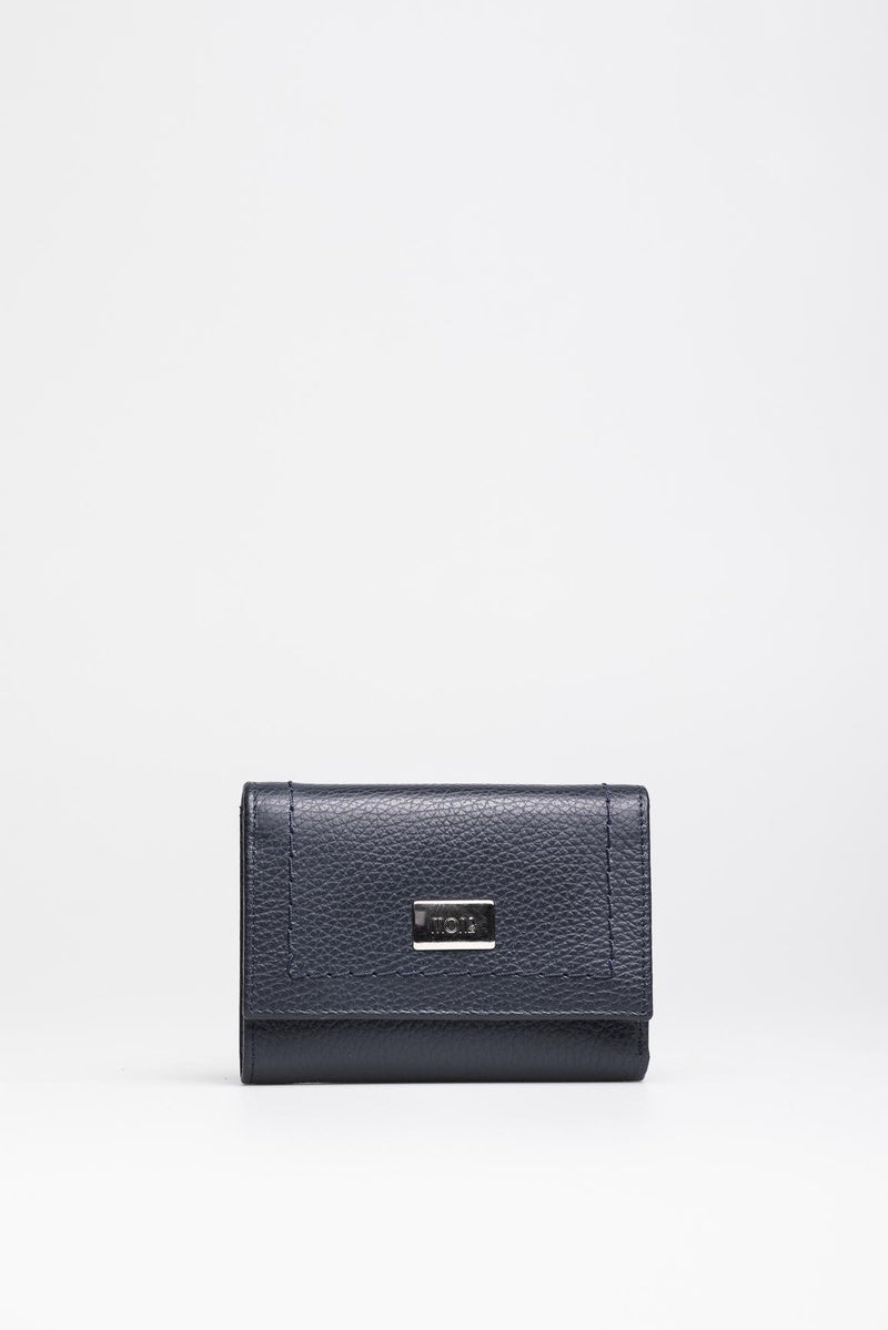Navy Leather Wallet - Mona Collection