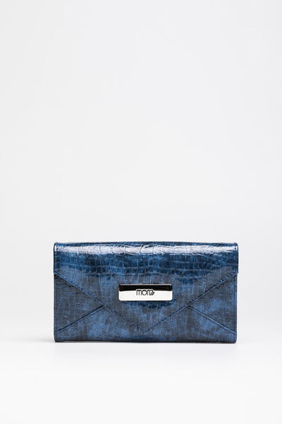 Ultramarine Patent Croc Wallet - Mona Collection