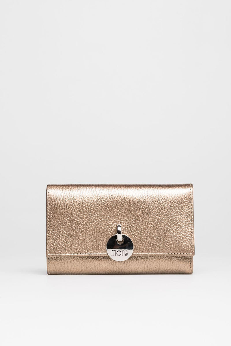 Metallic Gold Leather Wallet - Mona Collection