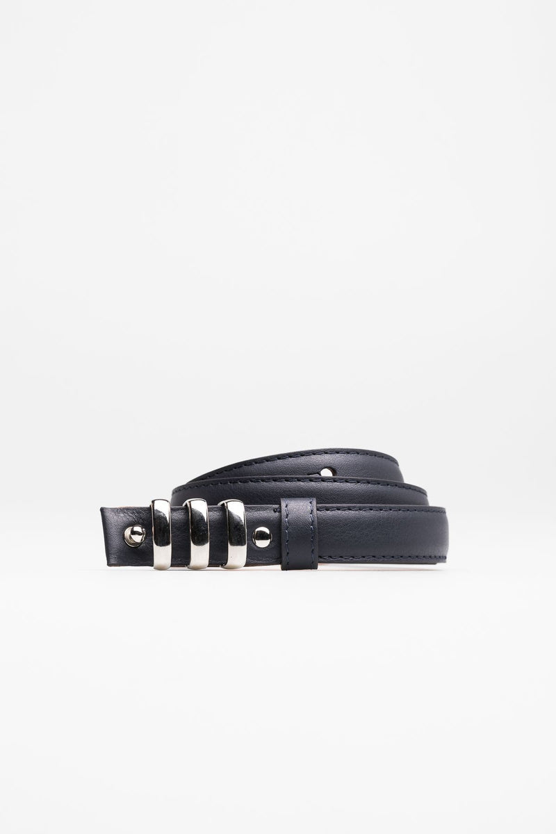 Leather Navy Belt with metallic buckle - Mona