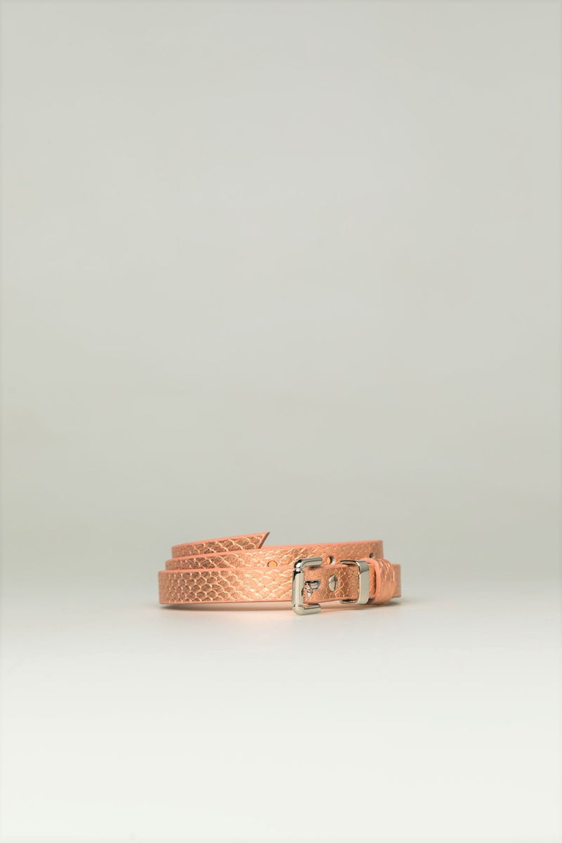 Leather Copper Metallic Belt - Mona