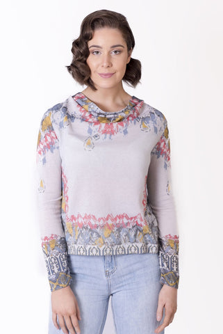 Pullover, Geometric Floral Print