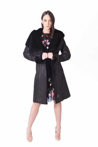 Long Fur Coat with Lamb Lapels
