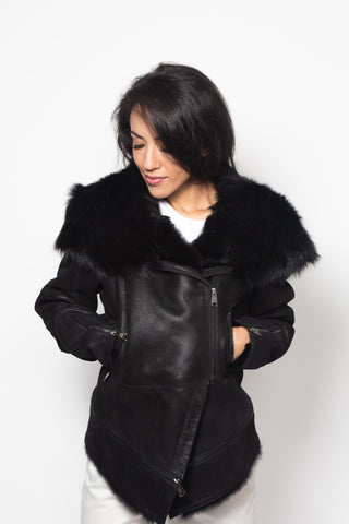 Short Shearling Fur jacket with Hood