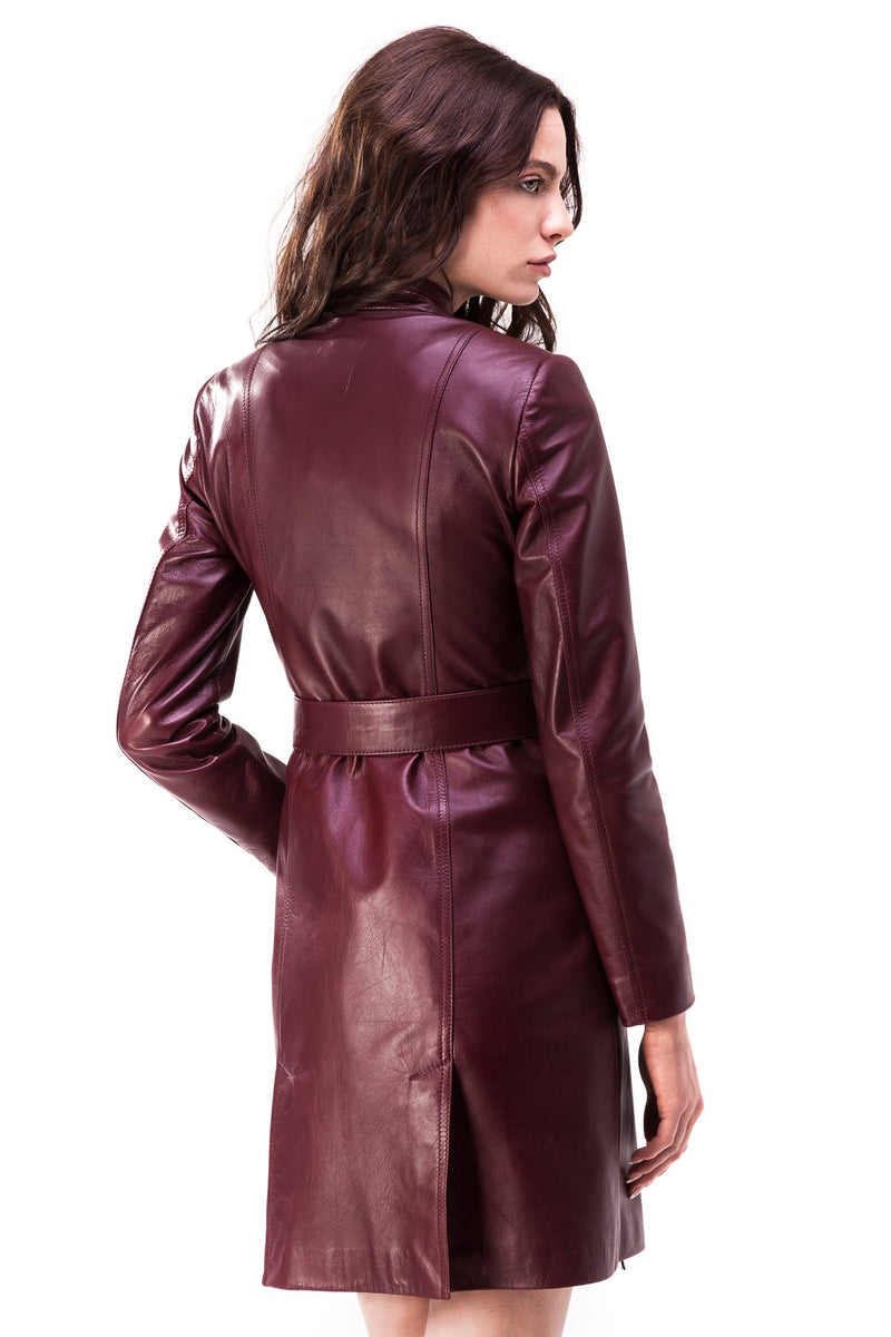 Trench coat made of smooth sheepskin leather