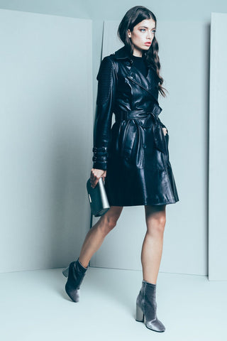 Trench black  coat made of smooth sheepskin leather - Mona Collection