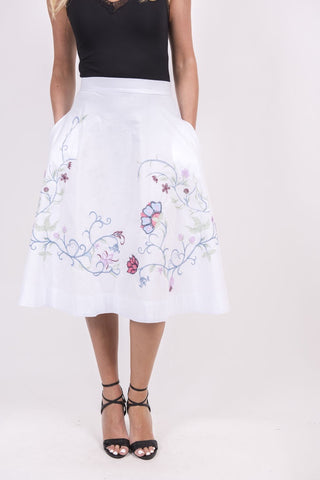 Skirt, Floral Embroidery c
