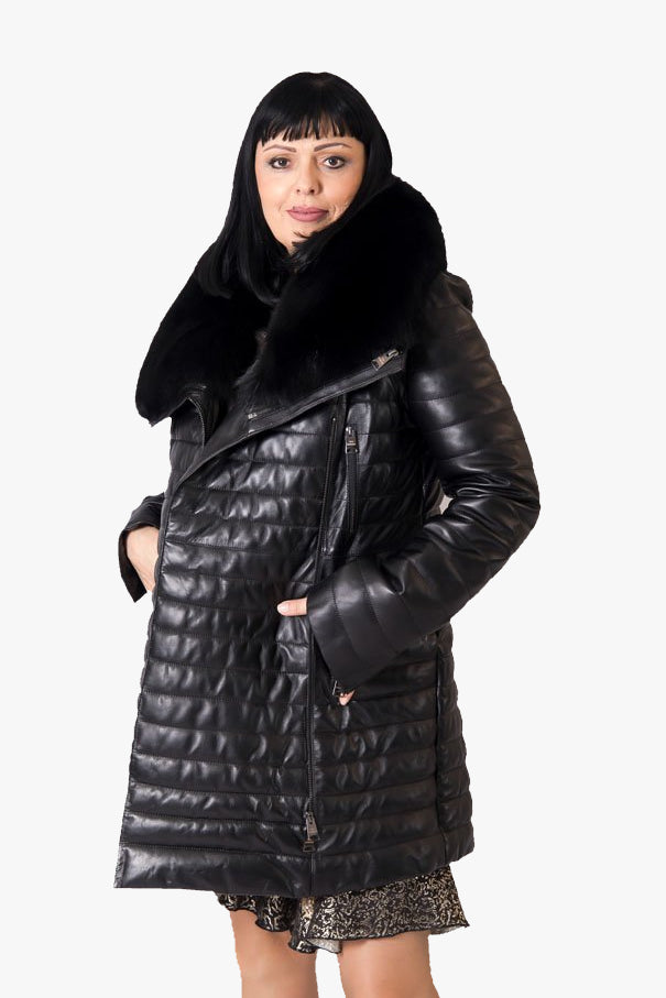 Leather Coat with Fox Fur