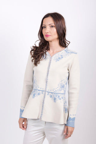 Embroidered Cardigan with Peplum