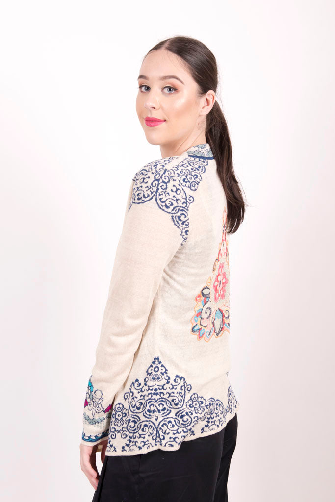 Cardigan with Embroidery, Intarsia Pattern/I