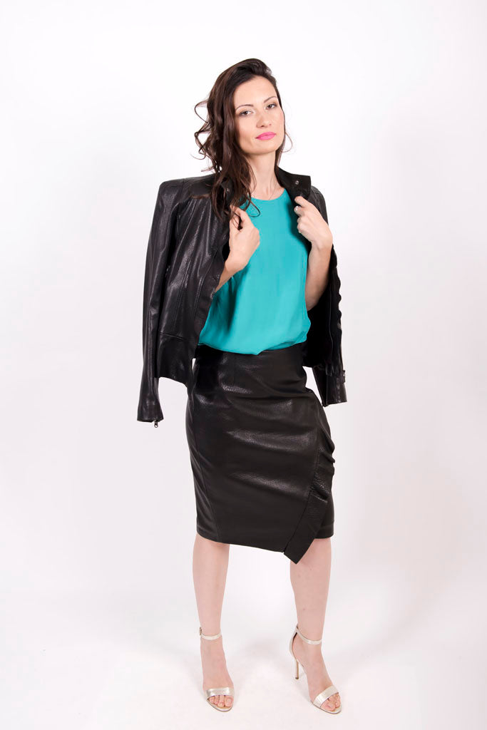 Pencil leather skirt