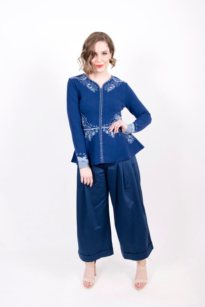 Embroidered Cardigan with Peplum - Ivko Women