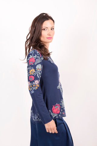 Cardigan with Embroidery, Intarsia Pattern - Ivko Women