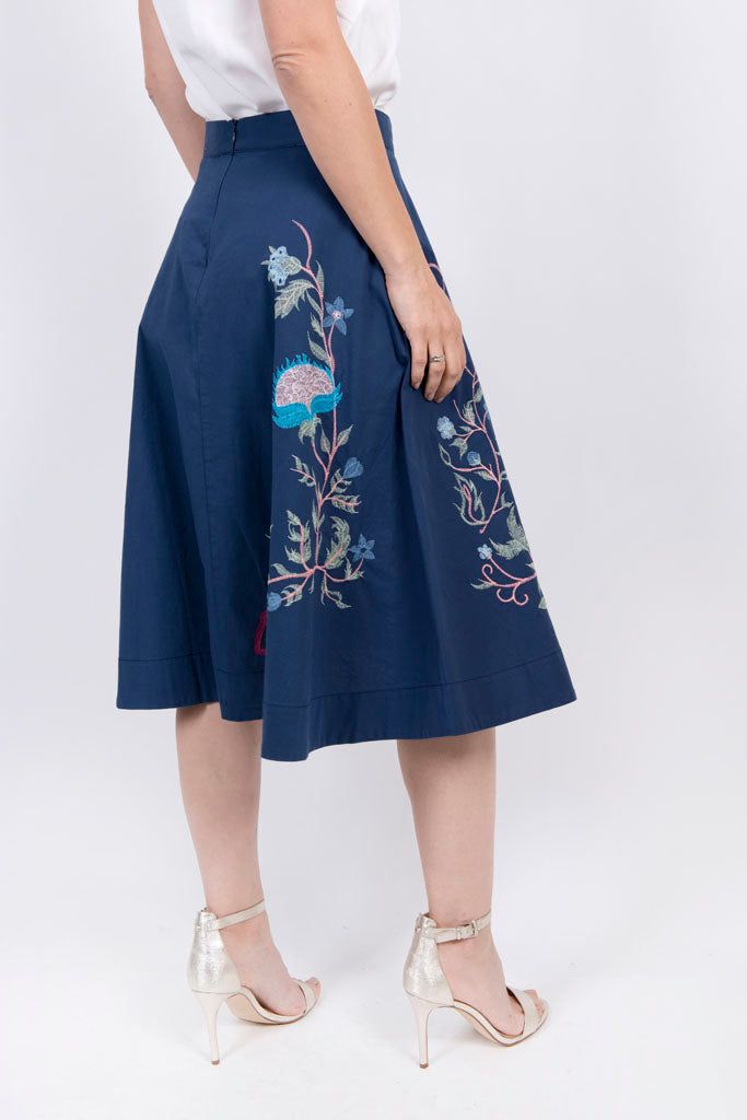 Skirt, Floral Embroidery c - Ivko Women
