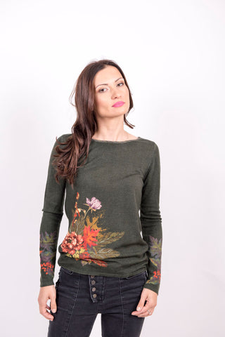 Printed Pullover, Forest Motifs W