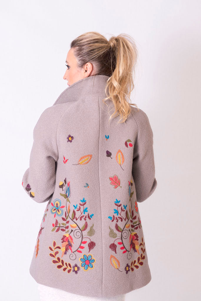 Boiled Wool Jacket with Embroidery