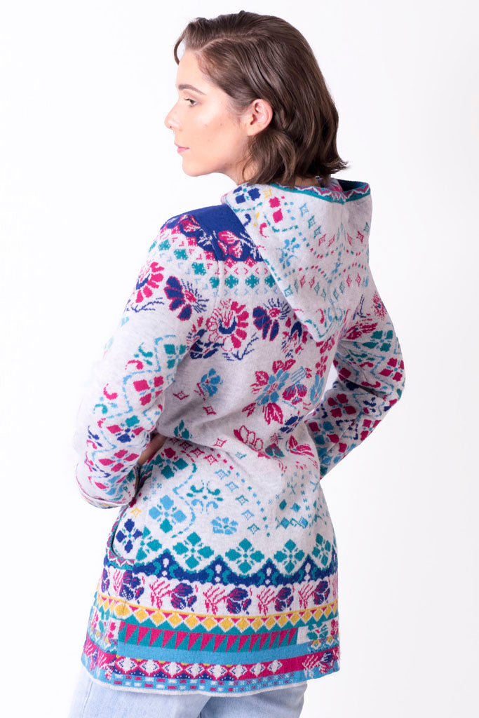 Jacquard Long Jacket with Hood