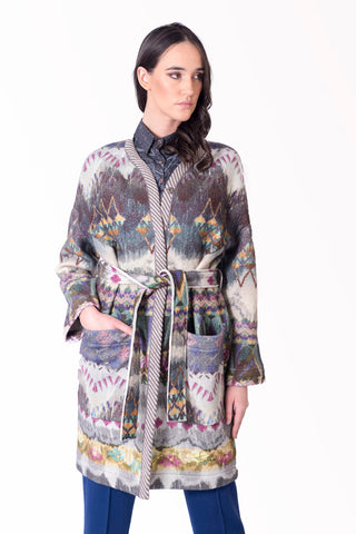 Coat, Geometric Print MF