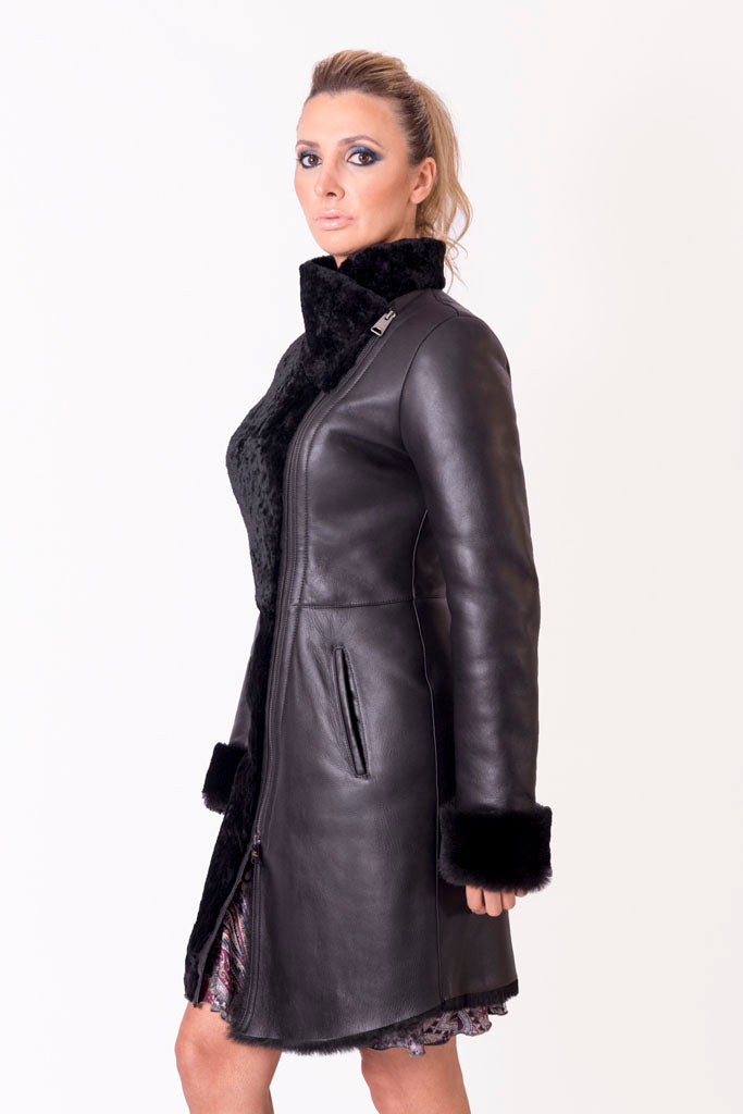 Mixed Leather Coat and Astrakhan Fur