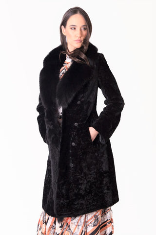 Shearling/Fox fur coat lamb