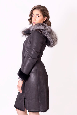 Leather Coat with Silver Fox Fur Hood