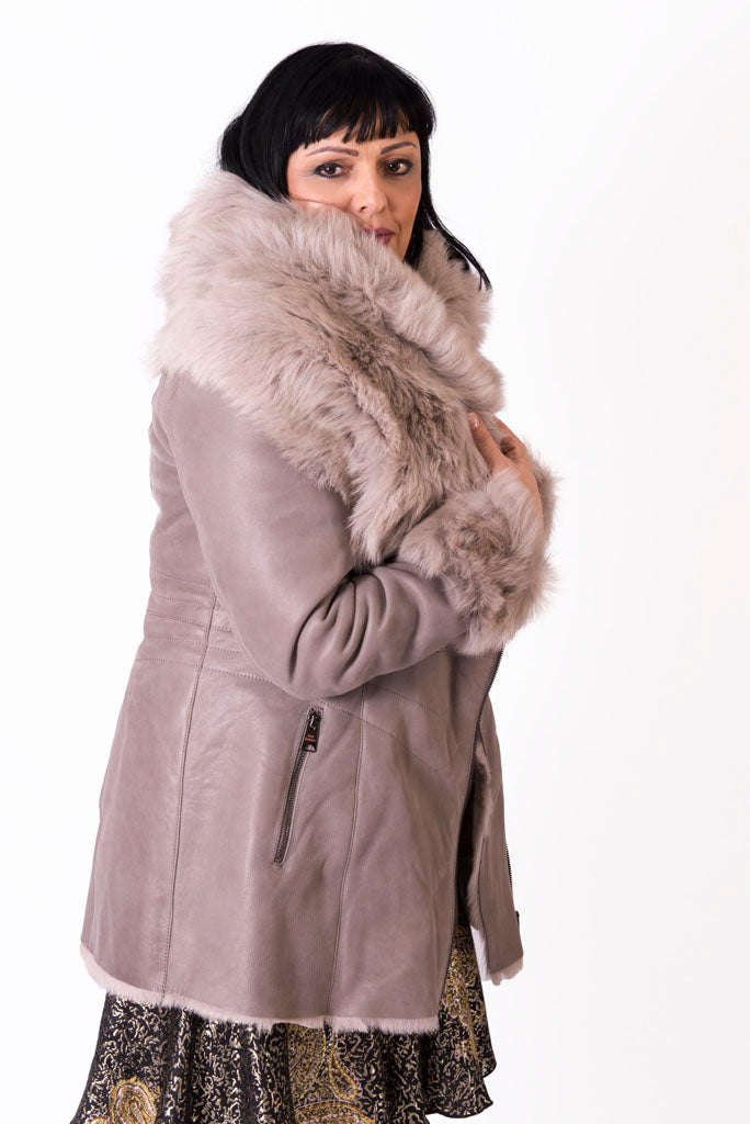 Three Quarter Shearling Coat with Lamb Fur Collar