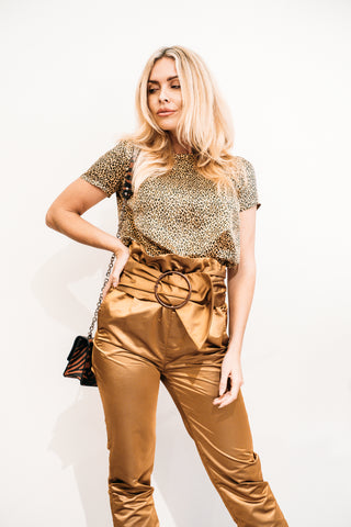 High Waisted Gold Trousers
