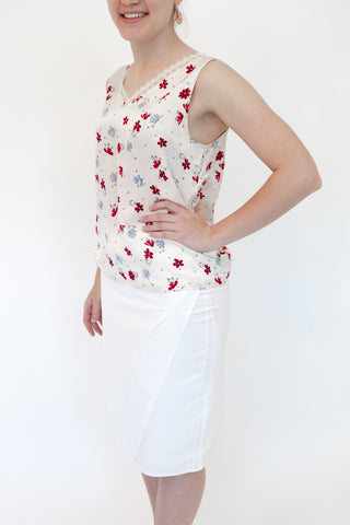 V-Neck Top With Flowers