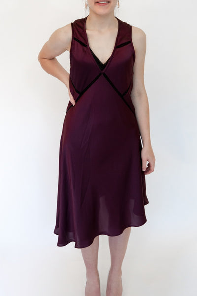 Asymmetric Burgundy Dress
